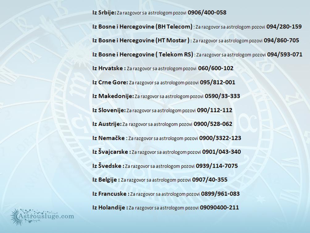 Astro centar - Kontakt telefoni za pozivanje astrologa